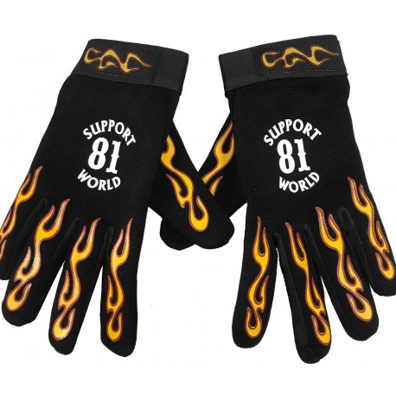 Hells Angels flamed Gloves (Neopren) Support 81 World