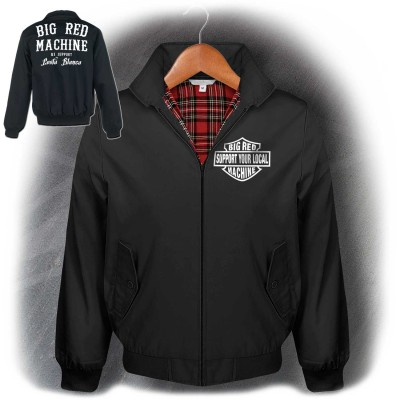 Hells Angels Support81 Big Red Machine Harrington Style Jacket Black
