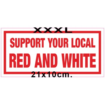Hells Angels bumper sticker Support RED AND WHITE 10cm x 21cm (4´x8.3´)