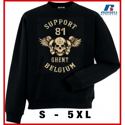 Hells Angels Ghent Belgium three sculls Support81 sudadera negra