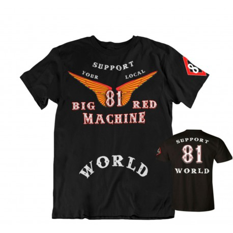 Hells Angels Big Red Machine Anniversary Wings Support81 T-Shirt