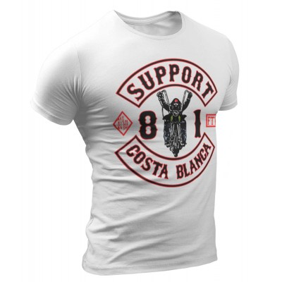 Hells Angels Biker White T-Shirt Support81 Big Red Machine