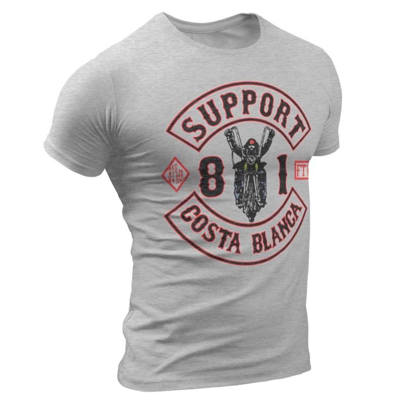 Biker Grey T Shirt Support81 Big Red Machine Hells Angels