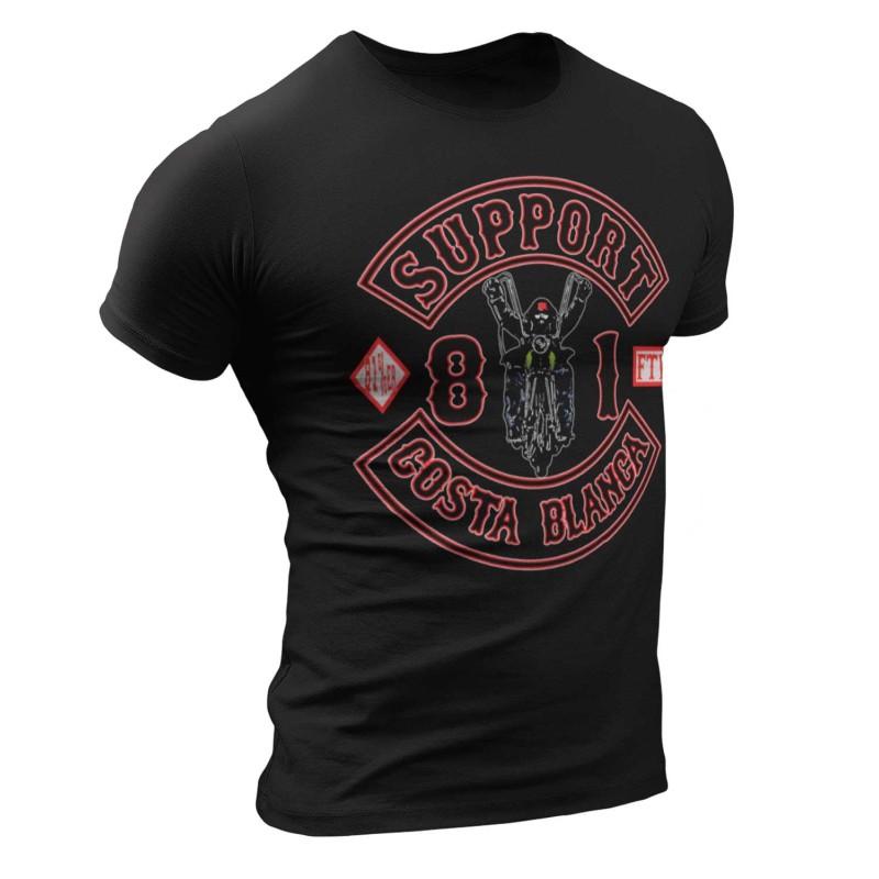 Biker Black T-Shirt Support 81 Big Red Machine Hells Angels
