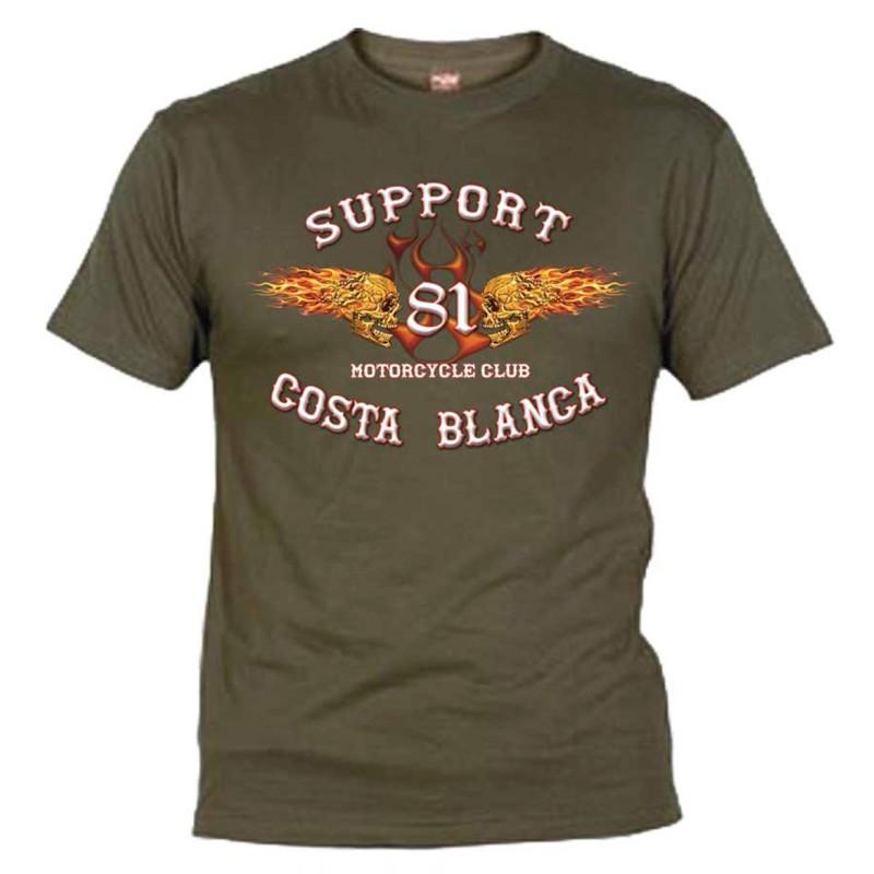 Hells Angels Flaming sculls Green T-Shirt Support81 Big Red Machine