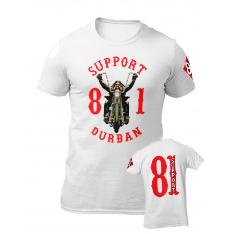 Hells Angels South Africa Durban Support 81 T-Shirt white