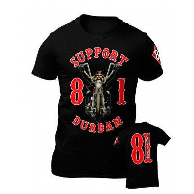 Hells Angels South Africa Durban Support 81 Camiseta negra