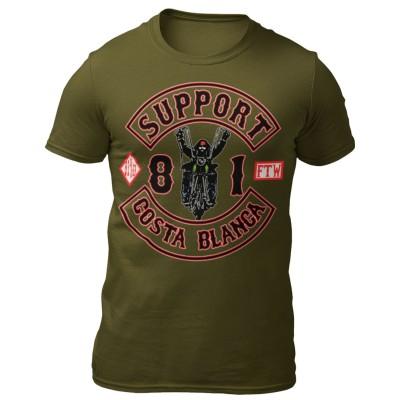 Biker Verde T-Shirt Support81 Big Red Machine Hells Angels