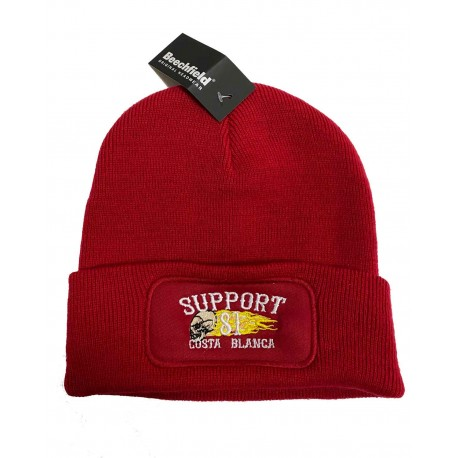Hells Angels Support 81 Biker Beanie rosso Big Red Machine embroided
