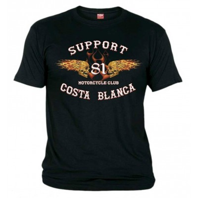 Flaming Sculls black T-Shirt Support81 Big Red Hells Angels