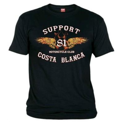 Flaming Sculls Negro T-Shirt Support81 Big Red Hells Angels
