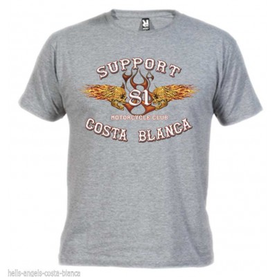 Flaming sculls Grey T-Shirt Support81 Big Red Hells Angels