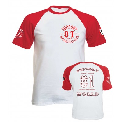 Hells Angels RED & WHITE T-Shirt Support81 WORLD Classic Biker