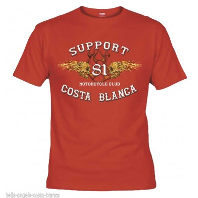 Flaming Sculls Red T-Shirt Support81 Big Red Hells Angels