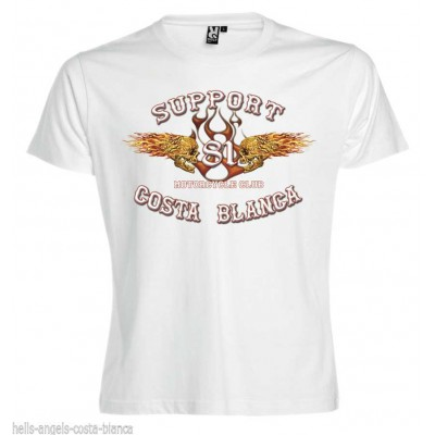 Flaming Sculls Blanc T-Shirt Support81 Big Red Hells Angels