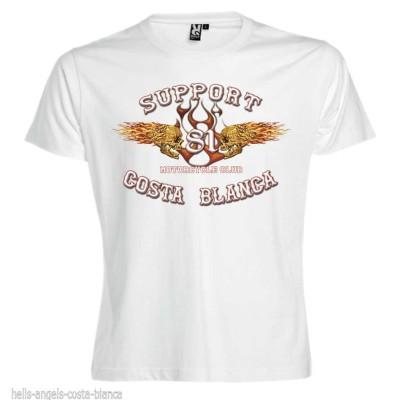 Flaming Sculls Blanc T-Shirt Support81 Big Red Hells Angels