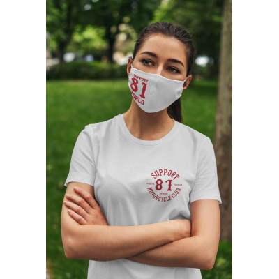 Hells Angels Support81 Face Mask 81 White 100% organic