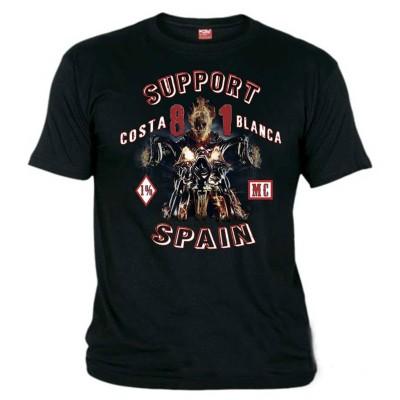Hells Angels Ghost Rider Negro T-Shirt Support81 Big Red Machine 1%