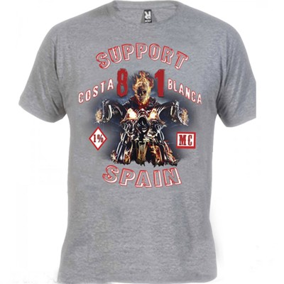 Hells Angels Ghost Rider Gray T-Shirt Support81 Big Red Machine 1%