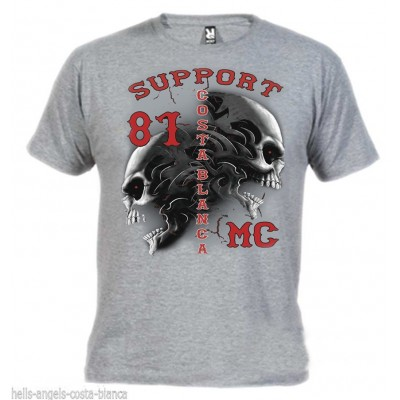 Hells Angels Tribal Sculls Grey T-Shirt Support81 Big Red Machine