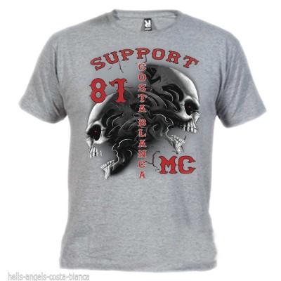 Hells Angels Tribal Sculls Gris T-Shirt Support81 Big Red Machine