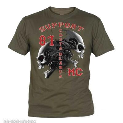Hells Angels Tribal Sculls Grün T-Shirt Support81 Big Red Machine