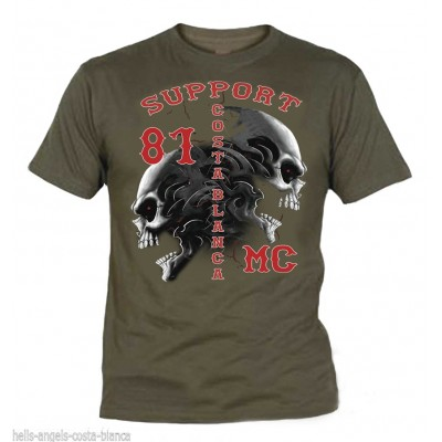 Hells Angels Tribal Sculls Olive T-Shirt Support81 Big Red Machine
