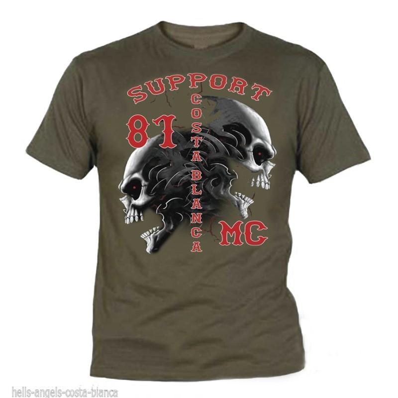 Hells Angels Tribal Sculls Olive T-Shirt Support81 Big Red Machine