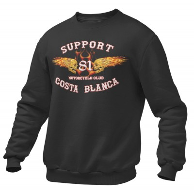 Hells Angels Flaming sculls flame Support81 sweater Big Red Machine Black