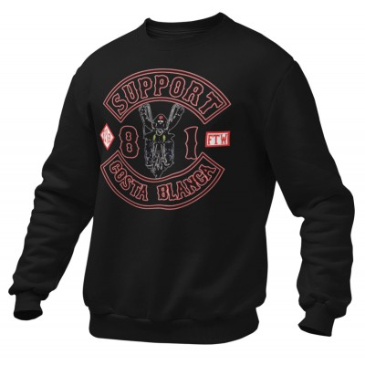 Hells Angels Biker Support81 sweater Big Red Machine Black