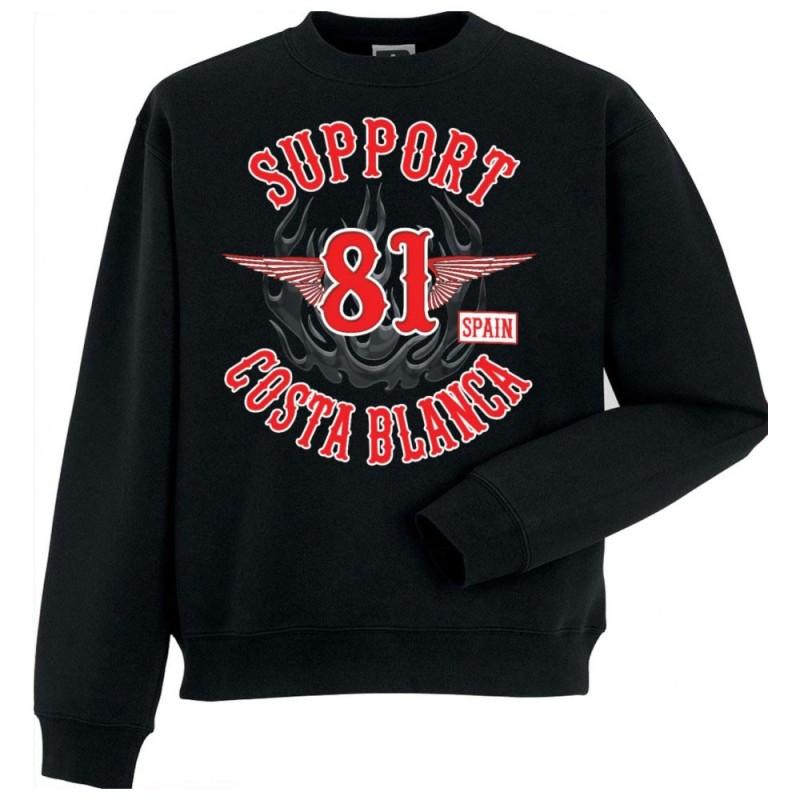 Hells Angels Anniversary Support81 Sweater Big Red Machine Black