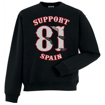 Hells Angels half wings Support81 sweater Big Red Machine Black