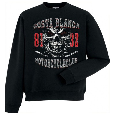 Hells Angels Spike Scull Support81 sweater Big Red Machine Black