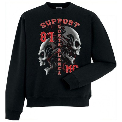 Hells Angels Tribal Scull Support81 sweater Big Red Machine Black