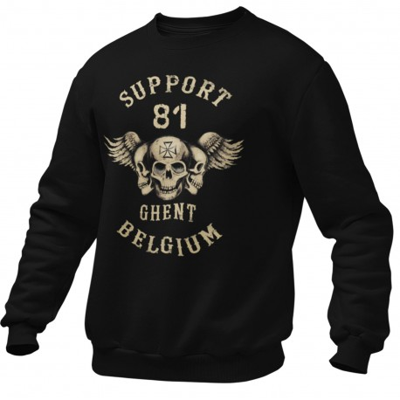 Hells Angels Ghent Belgium three sculls Support81 Black Sweater