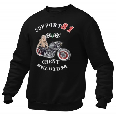 Hells Angels Ghent Belgium PinUp Support81 Black Sweater