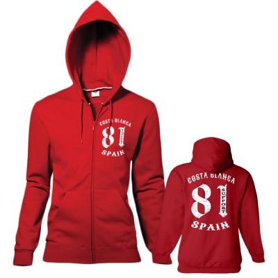 Hells Angels 81 vintage Ladies hooded sweatshirt red