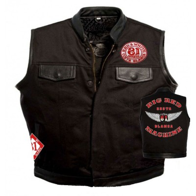 Hells Angels Support81 Denim - Leather Vest Big Red Machine