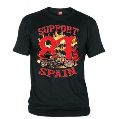 Hells Angels David Mann Negro T-Shirt Support81 Big Red Machine