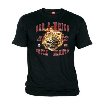 Fire Scull Costa Blanca Negro T-Shirt Support81 Big Red
