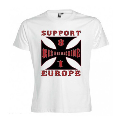 Hells Angels Cross Europe Blanco T-Shirt Support81 Big Red Machine 1%
