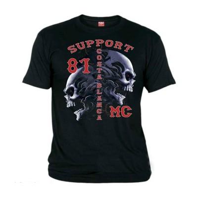 Hells Angels Tribal Sculls Nero T-Shirt Support81 Big Red Machine