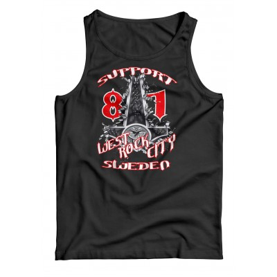 Hells Angels Sweden Hammer West Rock City Support81 Black Singlet