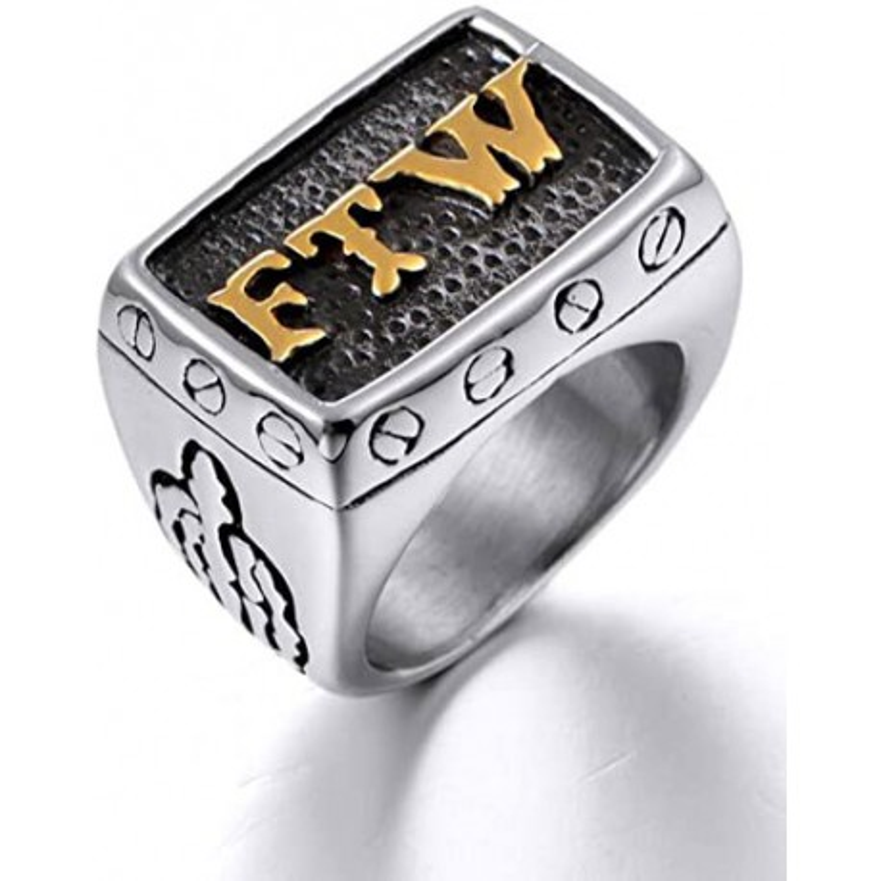 Titanium Steel FTW Biker Ring
