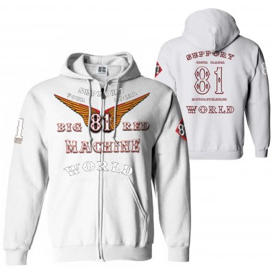 Hells Angels Anniversary Zipper Support81 Hoodie Big Red Machine