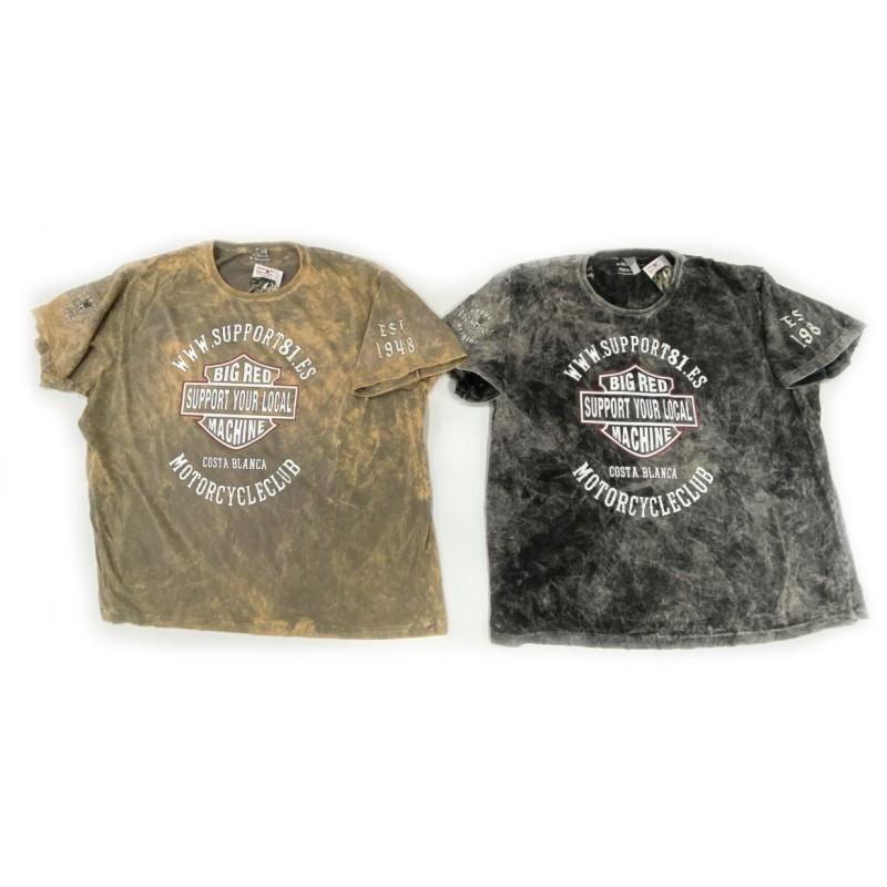 Hells Angels Support81 camiseta lavado a la piedra Big Red Machine