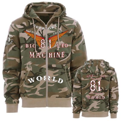 Hells Angels Anniversary Support81 Camo Hoodie Zipper Big Red Machine