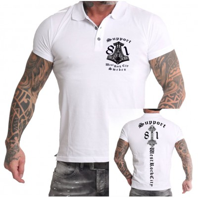 Hells Angels Sweden West Rock City Support81 White Polo front + back