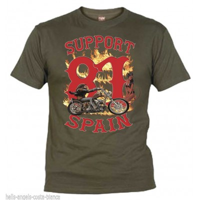 Hells Angels David Mann Olive T-Shirt Support81 Big Red Machine