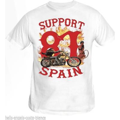 Hells Angels David Mann Blanco T-Shirt Support81 Big Red Machine